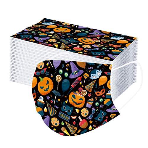 JFSG Niños Protección 3 Capas Precioso Estampado de Calabaza con Elástico para Los Oídos Pack 50 unidades-jfhrfged-090203 (Multicolor)