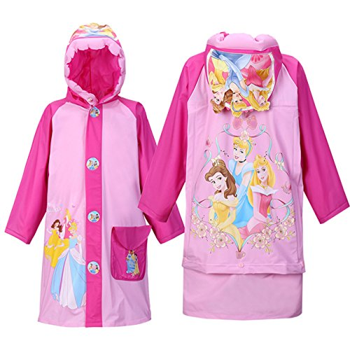 Children's Cartoon Raincoat Poncho Bag KT Cat Environmental Inflatable Hat Thickened,Princess,M/Height:105-115cm / fit 4-6T