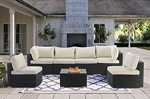 7 Pieces Patio Furniture Sets,Luxury Outdoor All Weather PE Rattan Wicker Lawn Conversation Sets,Garden Sofa Set with Coffee Table and Couch Cushions for Patio, Backyard, Pool (Beige-7PCS)
