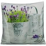 Kissenhüllen Kissenbezug Hülle Kissen Bezug Hüllen 40x40 Lavendel Blechkanne Provence Mediterran