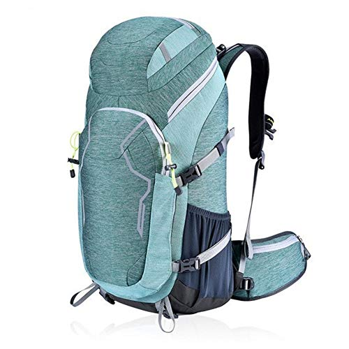 YICHOU Outdoor Travel Backpack 50L Nylon Waterproof Bicycle Backpack Men and Women Camping Mountaineering Bag with Rain Cover (Color : Blue, Size : 50~70L)