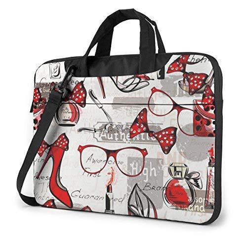 High Heels damestas voor bril, lippenstift en parfum, laptoptas, schoudertas voor 15,6 inch laptop, laptoptas