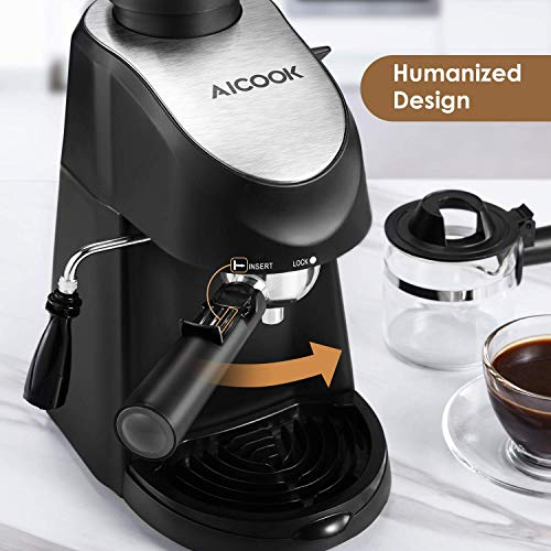 Aicook Espresso Machine, 3.5 Bar 4 Cup Espresso and Cappuccino Coffee Maker, 2 in 1 Semi-Automatic Coffee Machine with Milk Frother, Stainless Steel Espresso Maker with Steamer