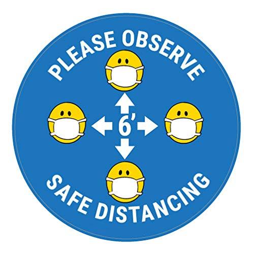 Decalcomania di sicurezza Vinly Decalcomania Si prega di osservare la distanza di sicurezza con la maschera facciale Emojis - Blu - Insegna per pavimento 12x12 pollici Prevenire Covid 19