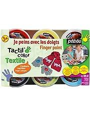 Pébéo 634190 Tacticolor Textile - Set de Pintura para Tela (6 tarros de 100 ml), Colores nacarados Variados