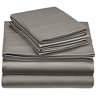 Pinzon 400-Thread-Count Egyptian Cotton Sateen Pleated Hem Sheet Set - King, Sterling