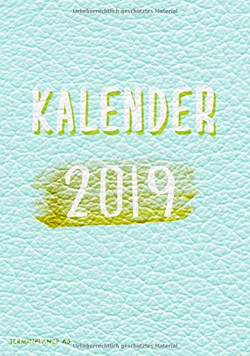 Kalender 2019 Terminplaner A5: modischer Taschenkalender Lederlook mind Cover Design mit Marker Typo Schrift (1 Woche auf 2 Seiten)