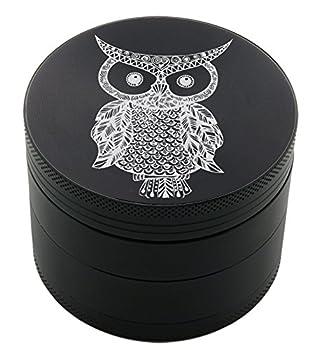 Owl Tattoo Laser Etched Design 4pcs Large Size Herb Grinder With FREE Scraper Item # ETCH-G012317-168