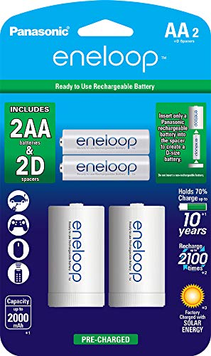 eneloop Panasonic K-KJS1MCA2BA D Size Battery Adapters with eneloop AA 2100 Cycle Ni- MH Pre-Charged Rechargeable Batteries, 2 Pack with 2'D Adapters