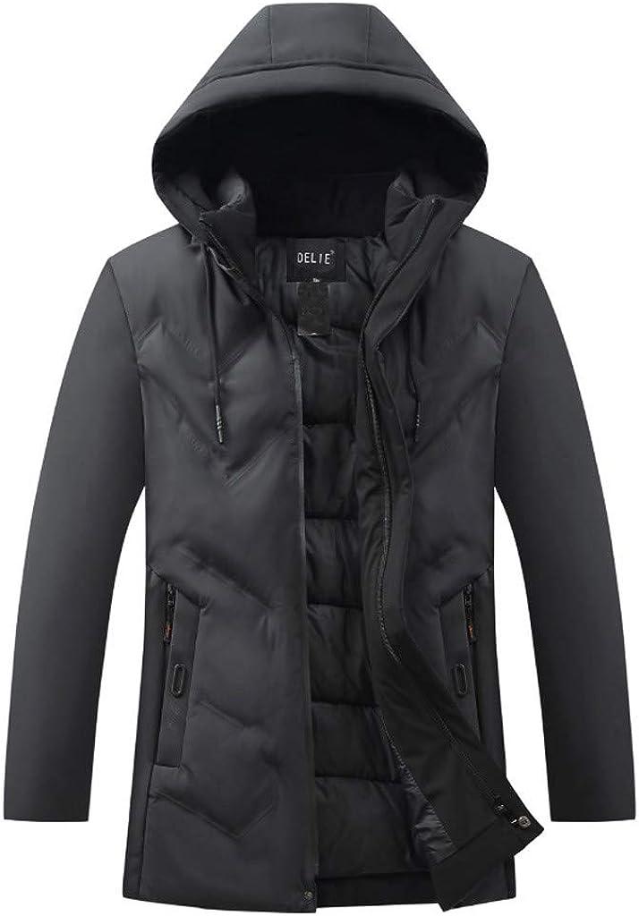 Winter Down Jacket Men, NRUTUP Hooded Water-Resistant Puffer Jacket, Zip Pocket Smart Tracksuit Winter Coat Overcoat