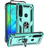 Moto G Power Case, Motorola G Power Case, with Tempered Glass Screen Protectors, Androgate Military-Grade Ring Kickstand Car Mount Shockproof Protective Cover Case for Motorola Moto G Power Teal