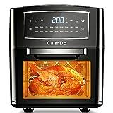 CalmDo Heißluftfritteuse XXL Airfryer ohne Fett Fritteuse Edelstahl 12 Liter Fassungsvermögen Digitalem Display 18 Voreinstellungen 1500W mit 10 Zubehör und Rezeptheft, Schwarz