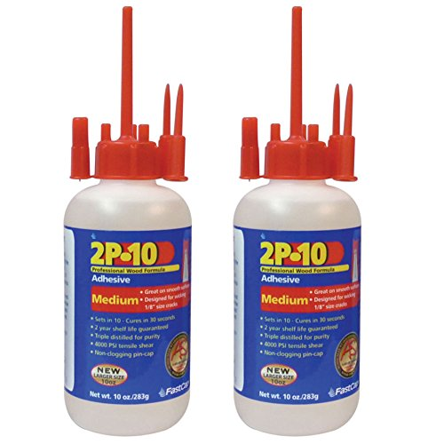 FastCap 2P-10 Professional Medium 10 oz Wood Formula Super Glue Adhesive, 2-Pack