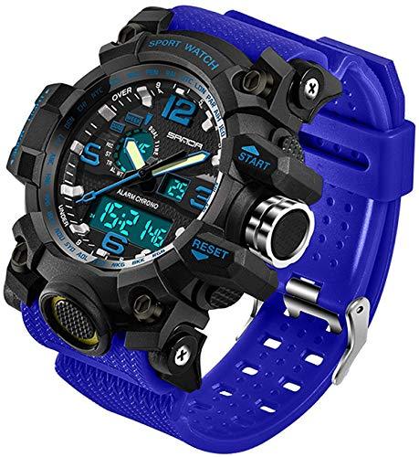 Relógio masculino para esportes ao ar livre à prova d'água, multifuncional, visor duplo, cronômetro, militar, relógio de pulso tático, Alicate de corrida, Azul
