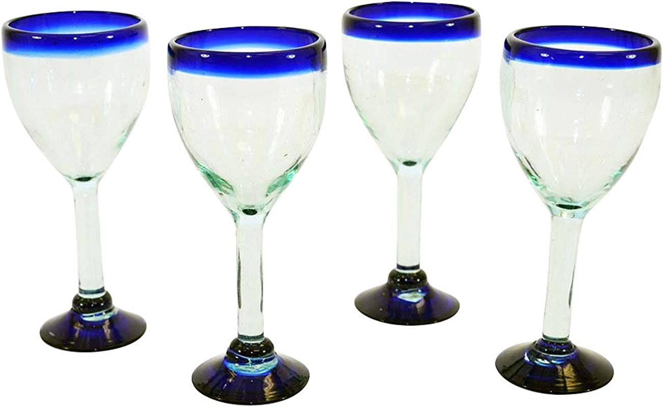 Set Of 4 Handmade Mexican Blue Rimmed Wine Glasses 12 Ounces