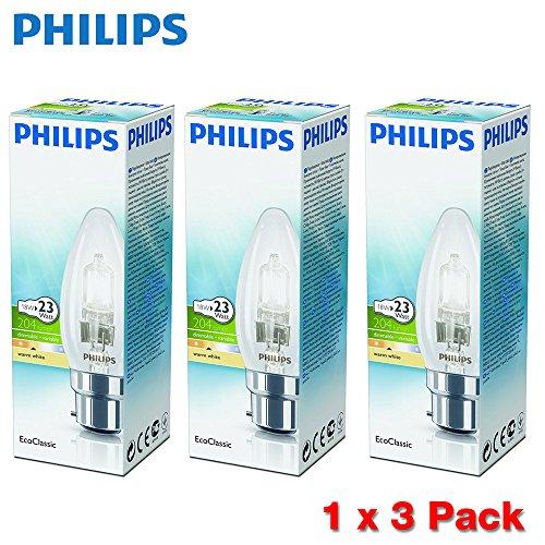 (3Pack) Philips Halogen Classic B3518W B22Bajonettsockel Leuchtmittel (entspricht 23W, dimmbar, 2.000Stunden Brenndauer,)–Warm Weiß