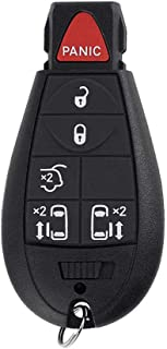 Uncut Blank Emergency Insert Key fit for DODGE CHRYSLER JEEP Smart Keyless Entry Remote Key Case Fob 6 Buttons 5 BTN Panic PG755L SEGADEN Replacement Key Shell