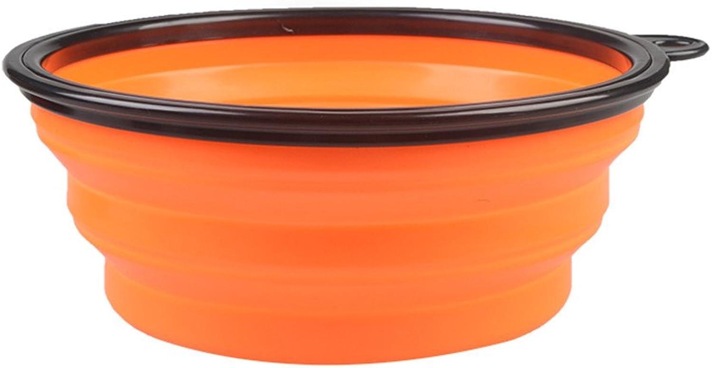 Collapsible Travel Silicone Dog Bowl Portable Pet Food Water Bowl,orange
