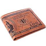 HENGSONG Men's US Dollar Bill PU Leather Credit Card Photo Holder Wallet Bifold Billfold (Dark Brown)