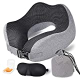 Travel Pillow Memory Foam Neck Pillow, Upgrade Design Perfect Support Airplane Pillow with Machine Washable...