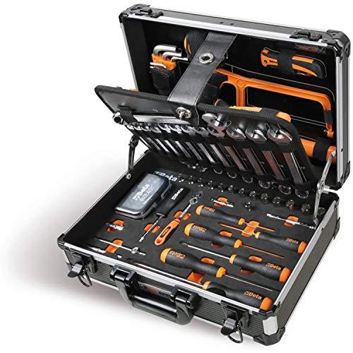 """BETA Easy 2054E/I-100 Werkzeugkoffer Koffer (Inkl. 100-teiliges Werkzeug Sortiment 1/4\"""", Ideal für alle Arten von Wartung, höchst widerstandsfähig, Made in Italy), Schwarz"""