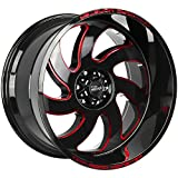 Off-road Monster M07 Custom Wheel - 20x10, -19 Offset, 5x127 Bolt Pattern, 78.1mm Hub - Gloss Black with Candy Red Milled Accents Rim