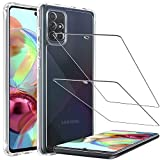 LK Compatible con Samsung Galaxy A71 Funda, 2 Pack Protector de Pantalla Vidrio Templado,Absorción Impactos Air Cushion Corners Carcasa HD Clara Case Cover - Transparente