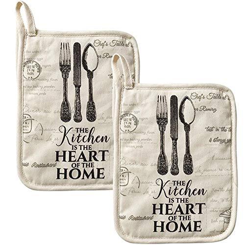BESTZY Baumwolle Topflappen 2 Stück Hitzebeständig Topflappen Untersetzer Topflappen zum Kochen Backen Küchenutensilien
