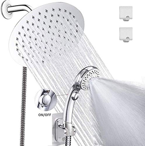 LOHNER High Pressure 8'' Rainfall Stainless Steel Round Shower Head/Handheld Shower Combo with Brass Diverter Valve and Adhesive Shower Head Holder