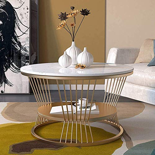 CX White Coffee Table Side Tables Laptop Table Round End Accent Side Coffee for Living Room with Metal Frame, Faux Marble Top,White Coffee Round Sofa