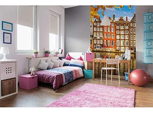 Vlies Fotobehang HUIZEN IN AMSTERDAM | Niet-Geweven Foto Mural | Wall Mural - Behang - Reusachtige Wandposter | Premium Kwaliteit - Gemaakt in de EU | 150 cm x 250 cm