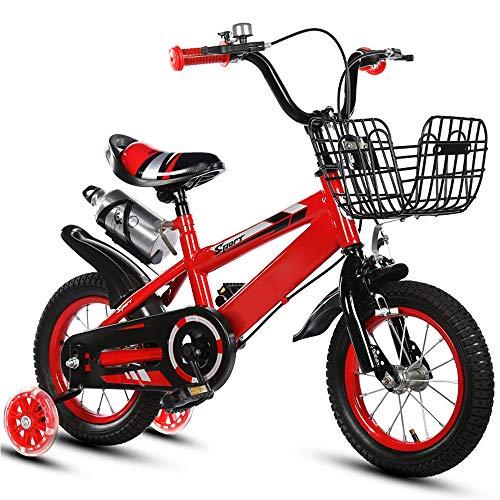 ZRZJBX 12' 14' 16' 18' BMX Freestyle per Bici per Bambini, con Rotelle, Regolabile Removaable Free-Borraccia per Bevande Sportive E Supporto,Red-18