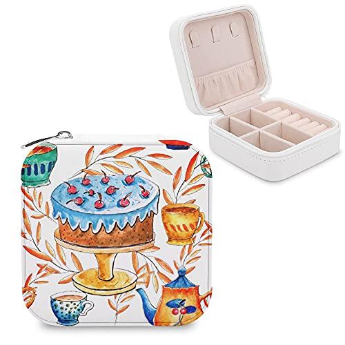Süßes Schmuckkästchen mit Kuchen- und Becher-Motiv, klein, Schmuck-Aufbewahrungsbox, Ringe, Ohrringe, Halskette, Organizer, PU-Leder für Frauen und Mädchen