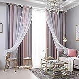 Galapara Cortinas con ojales, cortinas opacas para habitación infantil y dormitorio, cortinas de estrellas coloridas para dormitorio, salón, cortinas de doble capa, 2 paneles