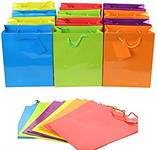 """Adorox 24 Assorted (9"""" x 7.5"""" x 3.5"""") Bright Neon Colored Paper Gift Bags Birthday Wedding All Occasion"""