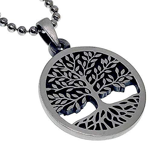 Yggdrasil Astru Norse Viking Pagan Jewelry Celtic Sacred Tree of life Bonsai Kabbalah Pewter Unisex Men's Women's Pendant Necklace Medallion Charm for men Women W 22 inches Silver Ball Chain