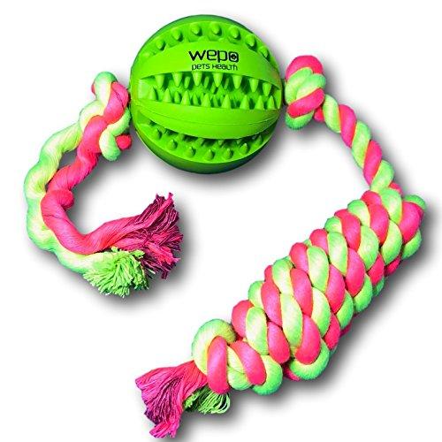 WEPO Hundespielzeug - Schleuderball mit Seil aus Naturkautschuk - für Welpen - Wurfball für Hunde- Welpenspielzeug - Ball mit Seil/Schnur - Grün