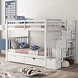MWKL La litera Completa más Nueva con estantes y 6 cajones, Marco de literas con escaleras, Muebles de Dormitorio Que ahorran Espacio