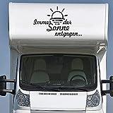 Pegatina Promotion Wohnmobil Wohnwagen Aufkleber Sonnenaufgang Sonnenuntergang Typ2 ca 100cm Immer der Sonne entgegen Sticker Autoaufkleber