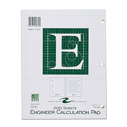 """Roaring Spring  5x5 Grid Engineering Pad, 15# Green, 3 Hole Punched, 8.5"""" x 11"""" 200 Sheets, Green Paper"""