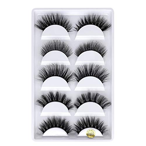 False Eyelashes, 3D Faux Mink False Lashes,5 Pairs Different Reusable Long Thick Eyelashes for Makeup Eyelashes Extension, Hand-made Natural Look Dramatic Fake Eye Lashes