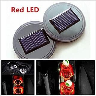 TRUE LINE Automotive 2 Piece Red Solar Energy Cup Holder LED Insert Interior Car Light Lamp Kit