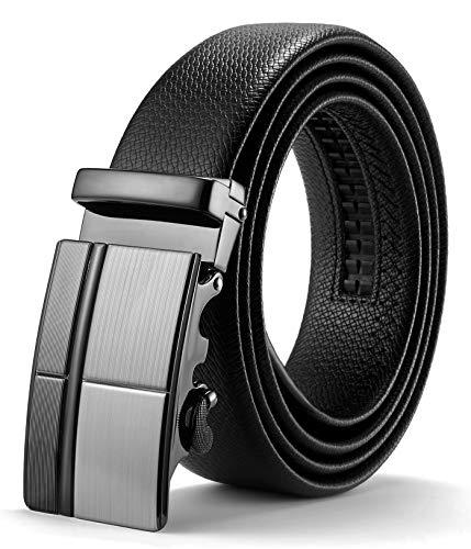 ITIEZY Herren Gürtel Ratsche Automatik Gürtel für Männer 35mm Breit Ledergürtel, Schwarz 100, Länge: Bis zu 49,21 Inches (125cm)