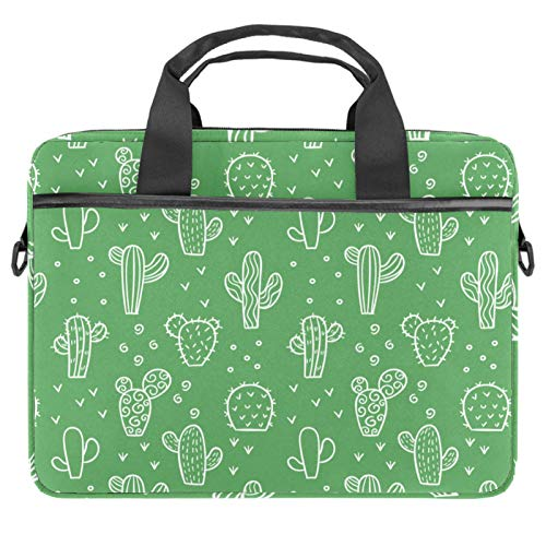 Laptop Tote Bag Computer Rucksack Compatible with Chromebook, MacBook Pro White Cactus On Green