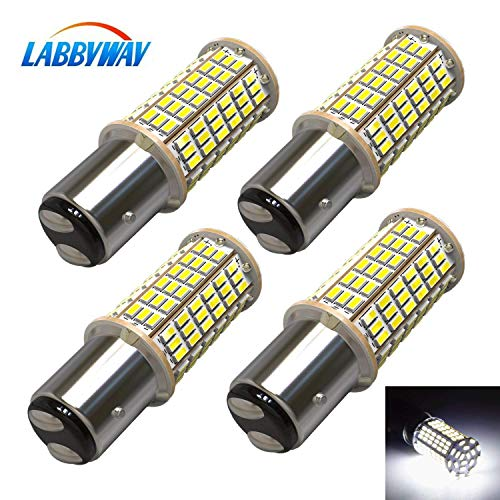 LABBYWAY 4 X 1440 Lumens 3014 144-EX Chipsets Super Bright 6000K LED Bulbs 1157 2057 2357 7528 LED Bulbs Used For Turn Signal Lights,Tail Lights,Xenon White