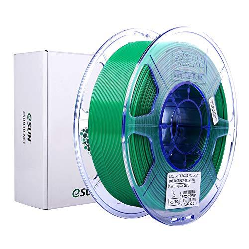 eSUN Filamento PETG 1.75mm, Filamento PETG de Impresión 3D, Precisión Dimensional +/- 0.05mm, 1KG (2.2 LBS) de Carrete para Impresora 3D, Verde Solido