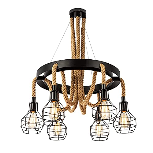 Vintage Rope Chandelier, Retro Steampunk Ceiling Pendant Light with Cage Shades for Kitchen Island, 6-Head Industrial Farmhouse Ceiling Light Multiple Adjustable Hanging for Dining Room Table Bar