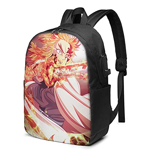 Kimetsu no Yaiba - Mochila USB de 17 pulgadas, mochila grande para portátil para hombres, mujeres, adolescentes, carga USB/puerto de auriculares para escuela secundaria