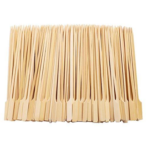 Ctzrzyt 500 Unids Pinchos de Paleta de Bambú Barbacoa Pinchos de Bambú Palitos de CóCtel para Barbacoa Kebabs CóCteles Buffets Fiesta 12Cm