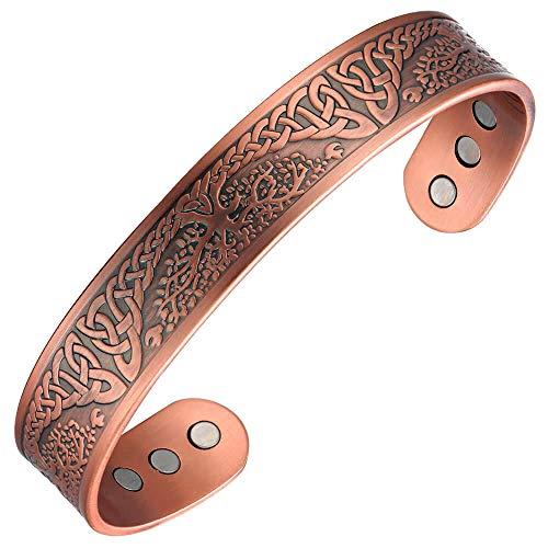 Regalo del día del padre terapia magnética de cobre pulsera artritis para hombres regalos de salud ajustable 7.5 pulgadas